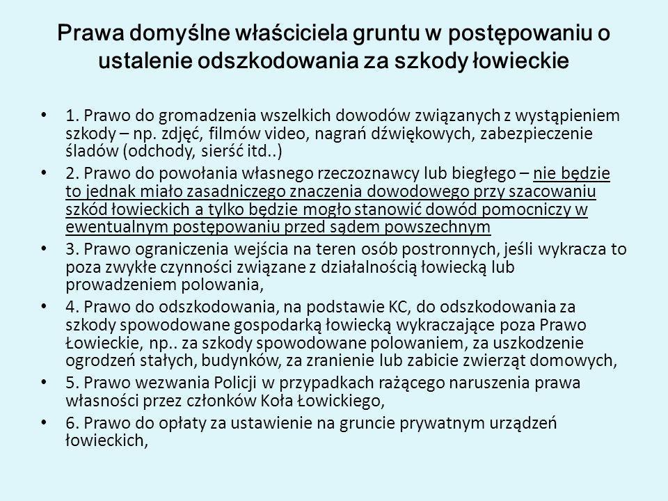 Prawa domyślne właściciela gruntu w postępowaniu o ustalenie odszkodowania za szkody łowieckie 1. Prawo do gromadzenia wszelkich dowodów związanych z