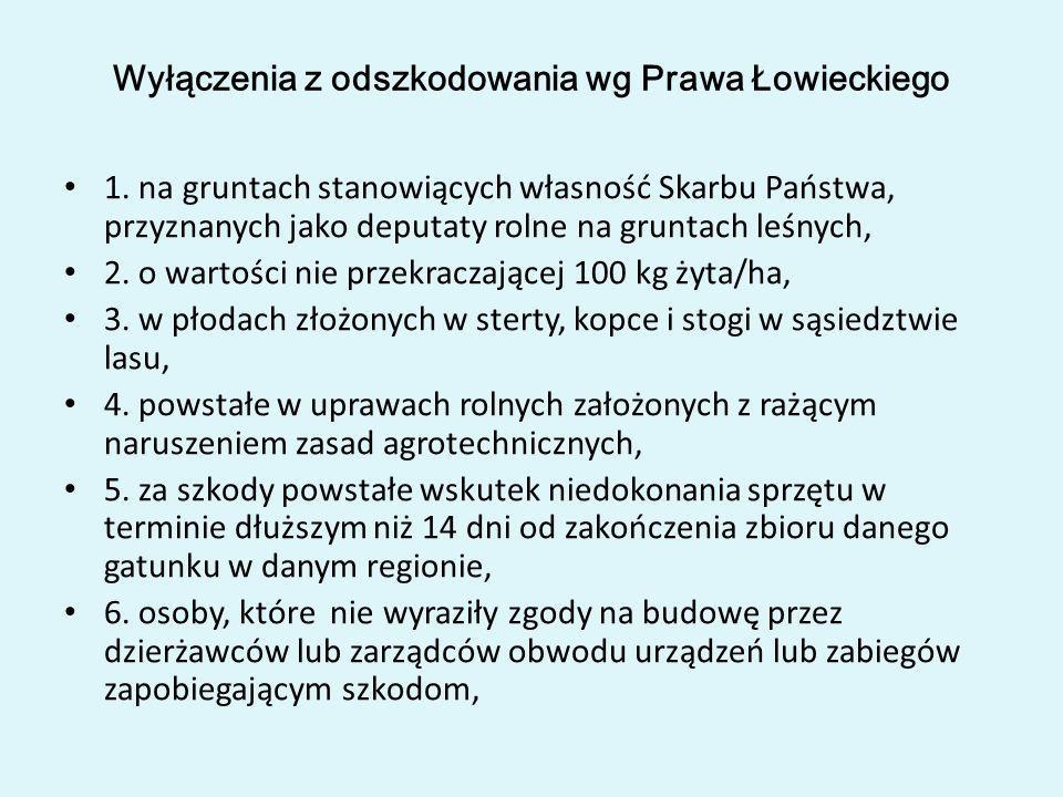 Wyłączenia z odszkodowania wg Prawa Łowieckiego 1. na gruntach stanowiących własność Skarbu Państwa, przyznanych jako deputaty rolne na gruntach leśny