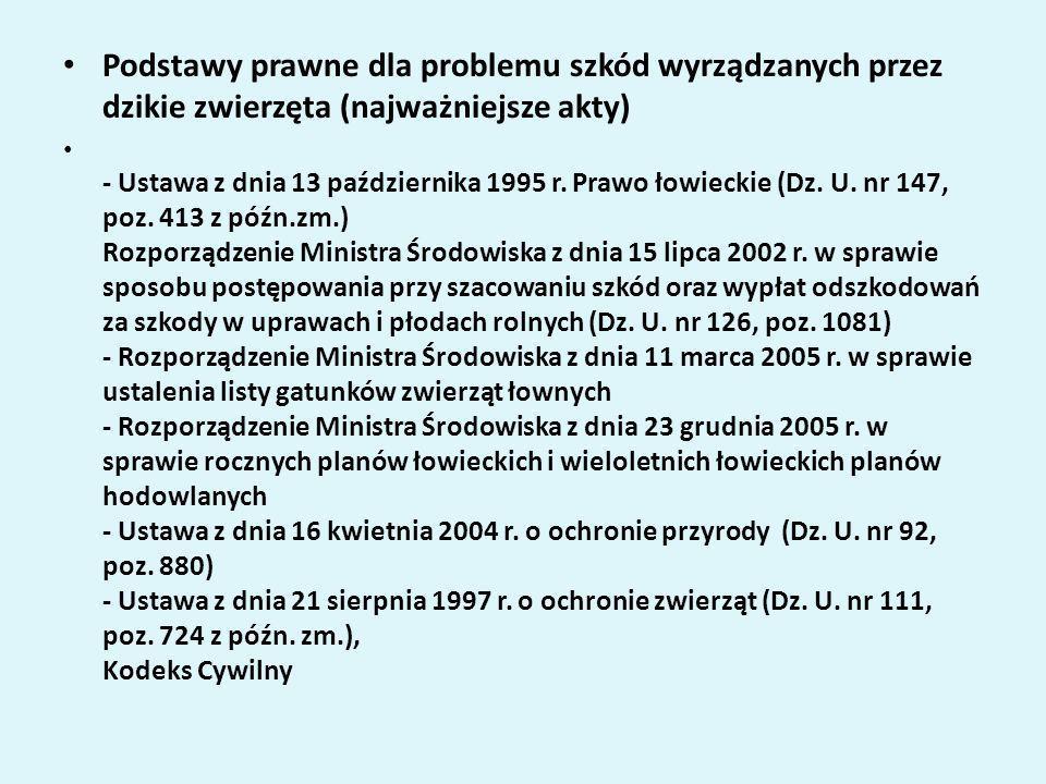 Podstawy prawne dla problemu szkód wyrządzanych przez dzikie zwierzęta (najważniejsze akty) - Ustawa z dnia 13 października 1995 r. Prawo łowieckie (D