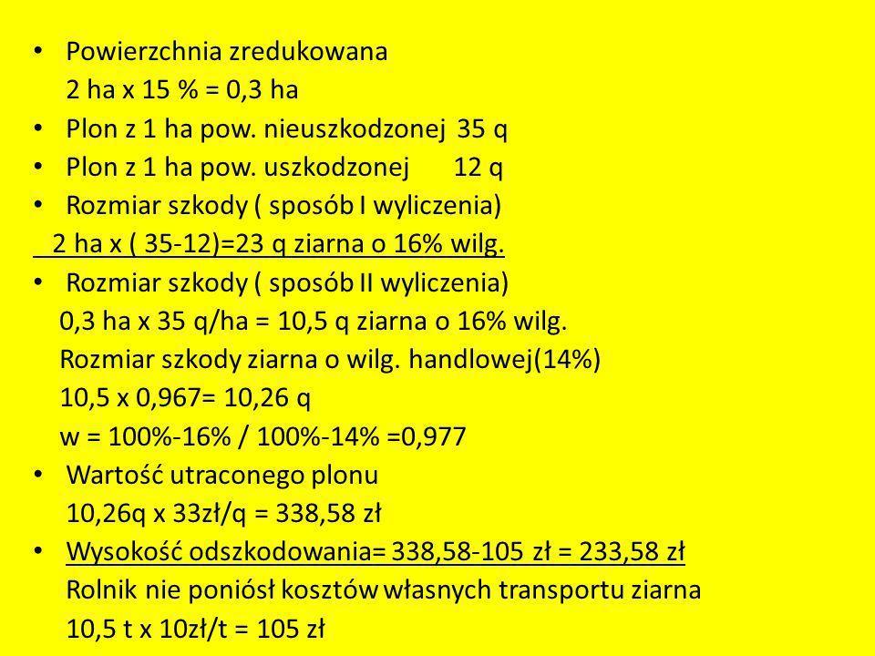 Powierzchnia zredukowana 2 ha x 15 % = 0,3 ha Plon z 1 ha pow. nieuszkodzonej 35 q Plon z 1 ha pow. uszkodzonej 12 q Rozmiar szkody ( sposób I wylicze