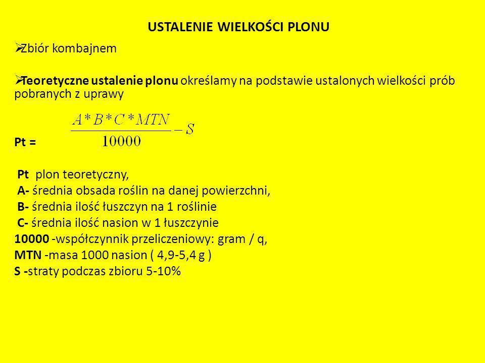 USTALENIE WIELKOŚCI PLONU Zbiór kombajnem Teoretyczne ustalenie plonu określamy na podstawie ustalonych wielkości prób pobranych z uprawy Pt = Pt plon