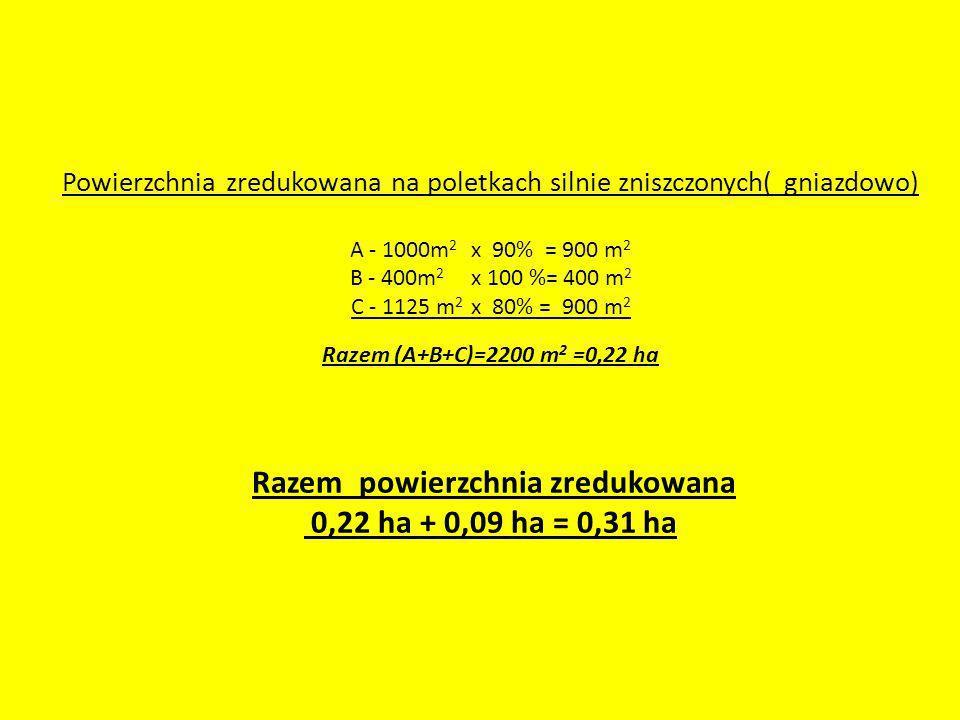 Powierzchnia zredukowana na poletkach silnie zniszczonych( gniazdowo) A - 1000m 2 x 90% = 900 m 2 B - 400m 2 x 100 %= 400 m 2 C - 1125 m 2 x 80% = 900