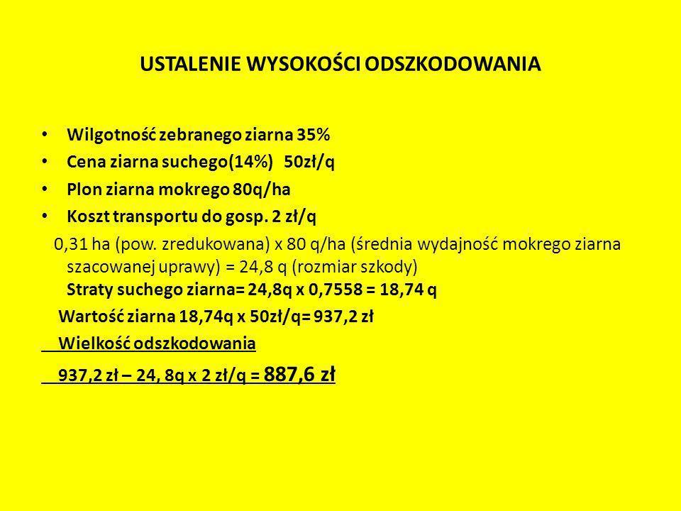 USTALENIE WYSOKOŚCI ODSZKODOWANIA Wilgotność zebranego ziarna 35% Cena ziarna suchego(14%) 50zł/q Plon ziarna mokrego 80q/ha Koszt transportu do gosp.