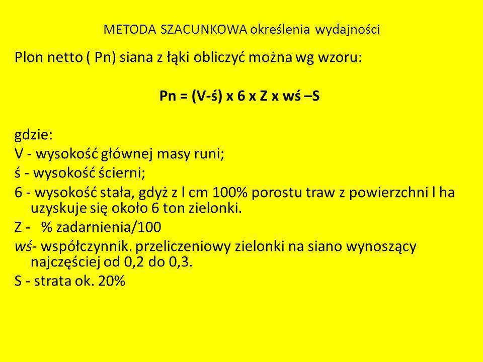 METODA SZACUNKOWA określenia wydajności Plon netto ( Pn) siana z łąki obliczyć można wg wzoru: Pn = (V-ś) x 6 x Z x wś –S gdzie: V - wysokość głównej