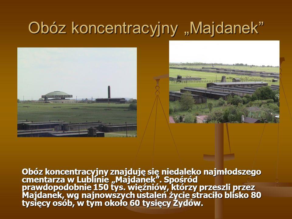 Obóz koncentracyjny Majdanek Obóz koncentracyjny znajduję się niedaleko najmłodszego cmentarza w Lublinie Majdanek. Spośród prawdopodobnie 150 tys. wi