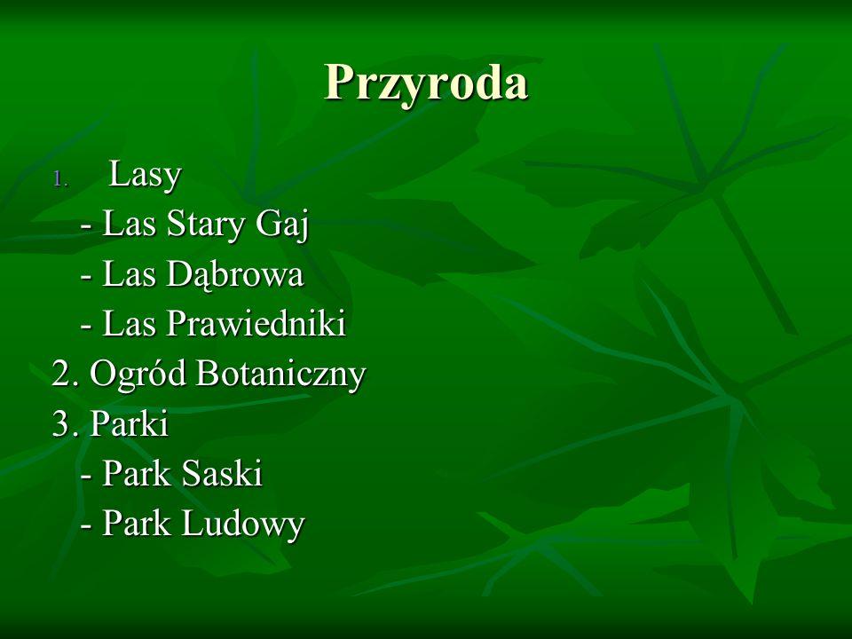 Przyroda 1. Lasy - Las Stary Gaj - Las Stary Gaj - Las Dąbrowa - Las Dąbrowa - Las Prawiedniki - Las Prawiedniki 2. Ogród Botaniczny 3. Parki - Park S