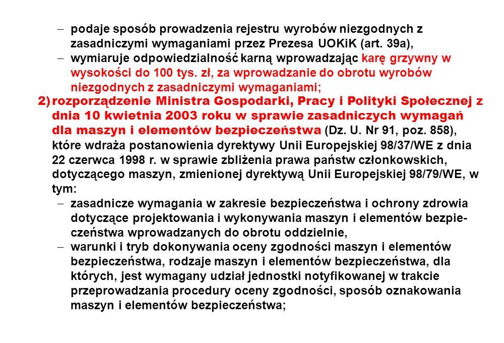 podaje sposób prowadzenia rejestru wyrobów niezgodnych z zasadniczymi wymaganiami przez Prezesa UOKiK (art. 39a), wymiaruje odpowiedzialność karną wpr