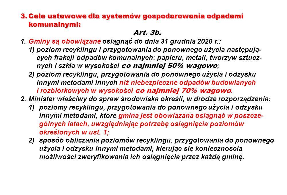 3.Cele ustawowe dla systemów gospodarowania odpadami komunalnymi: Art. 3b. 1.Gminy są obowiązane osiągnąć do dnia 31 grudnia 2020 r.: 1)poziom recykli
