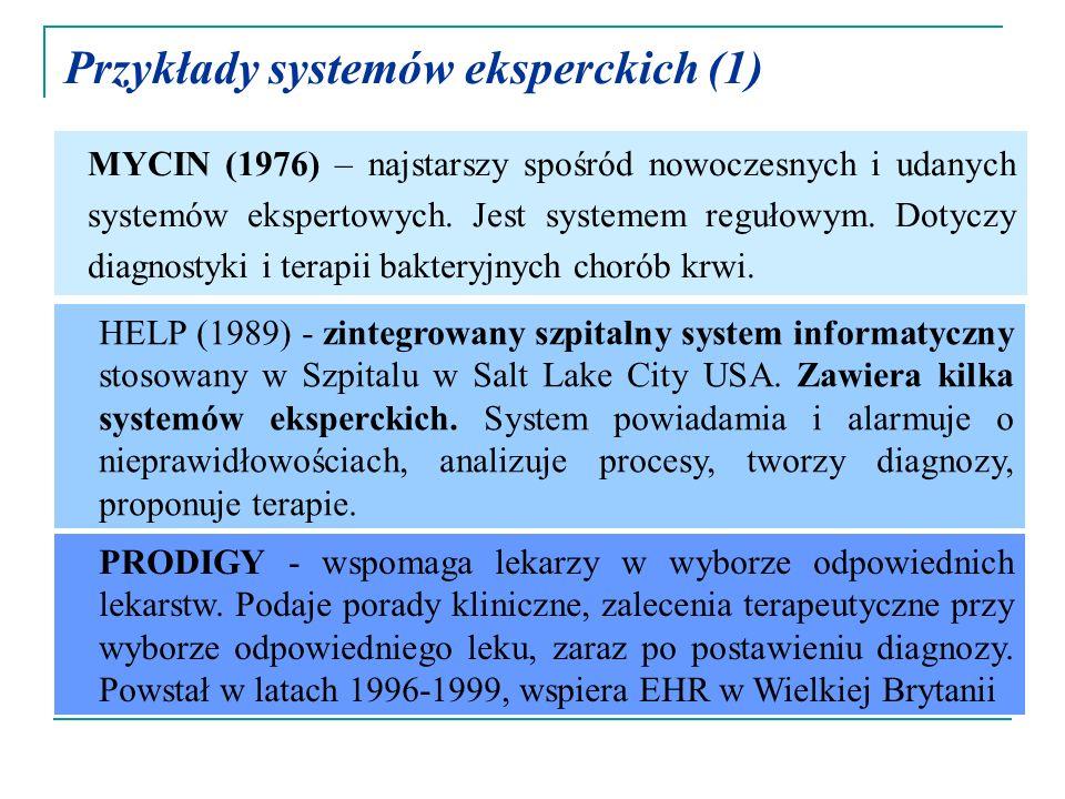 Przykłady systemów eksperckich (1) MYCIN (1976) – najstarszy spośród nowoczesnych i udanych systemów ekspertowych. Jest systemem regułowym. Dotyczy di