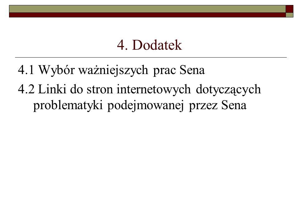 4. Dodatek 4.1 Wybór ważniejszych prac Sena 4.2 Linki do stron internetowych dotyczących problematyki podejmowanej przez Sena
