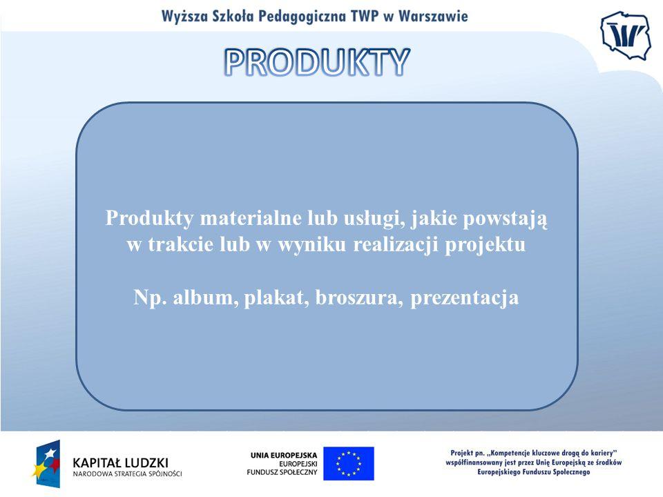 Produkty materialne lub usługi, jakie powstają w trakcie lub w wyniku realizacji projektu Np. album, plakat, broszura, prezentacja