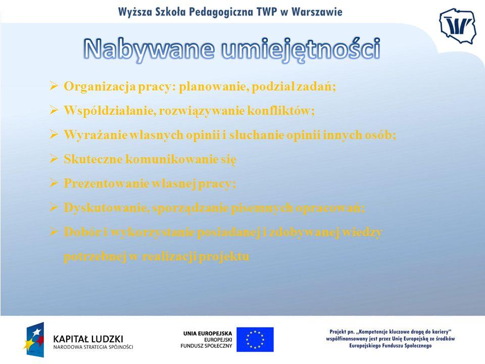 Organizacja pracy: planowanie, podział zadań; Współdziałanie, rozwiązywanie konfliktów; Wyrażanie własnych opinii i słuchanie opinii innych osób; Skut