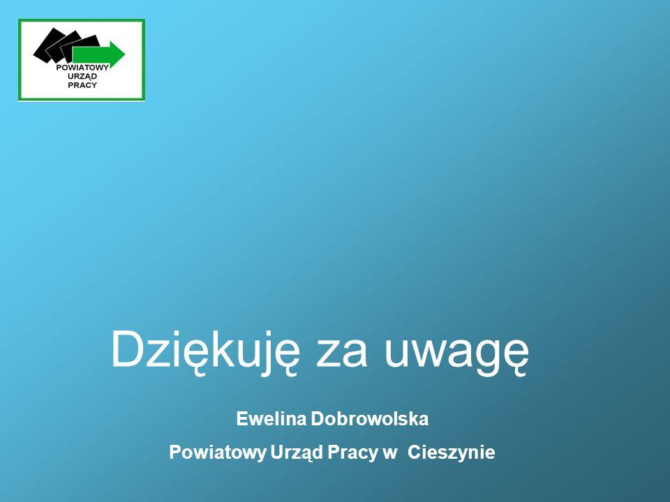 Ewelina Dobrowolska Powiatowy Urząd Pracy w Cieszynie Dziękuję za uwagę
