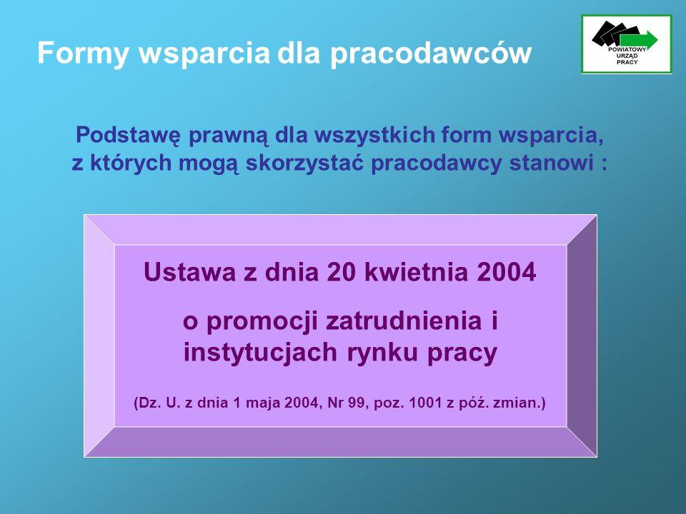 Formy wsparcia dla pracodawców Ustawa z dnia 20 kwietnia 2004 o promocji zatrudnienia i instytucjach rynku pracy (Dz. U. z dnia 1 maja 2004, Nr 99, po