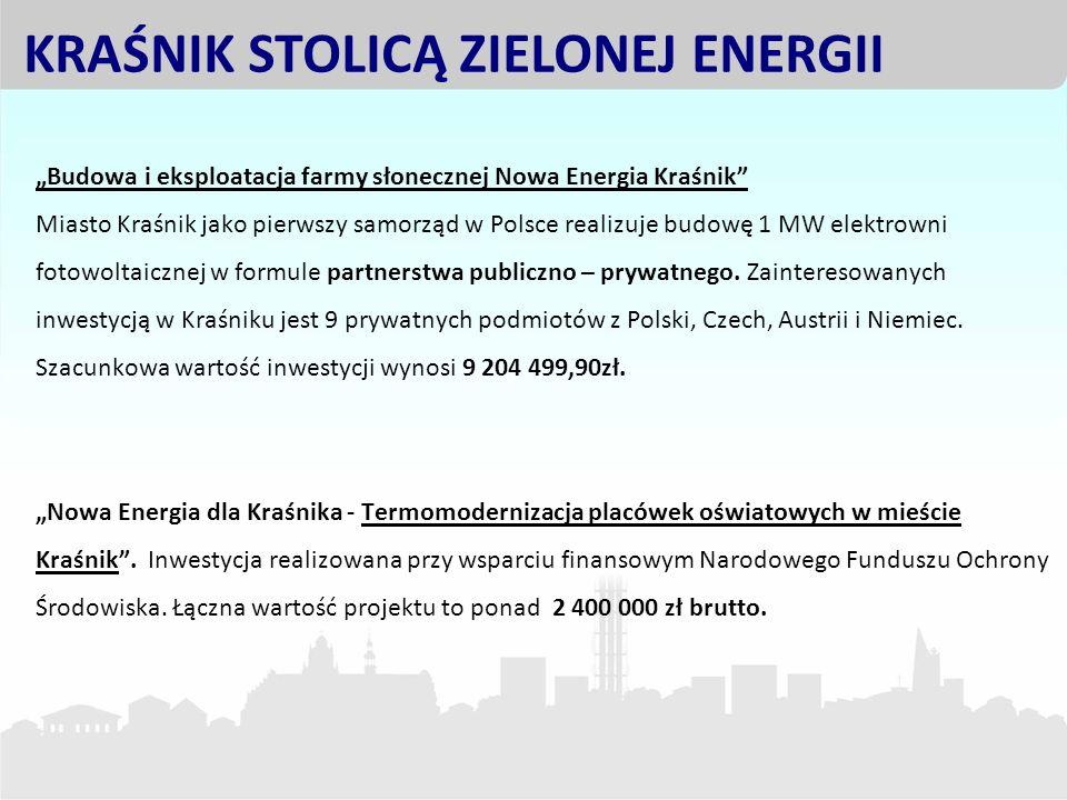 Budowa i eksploatacja farmy słonecznej Nowa Energia Kraśnik Miasto Kraśnik jako pierwszy samorząd w Polsce realizuje budowę 1 MW elektrowni fotowoltai