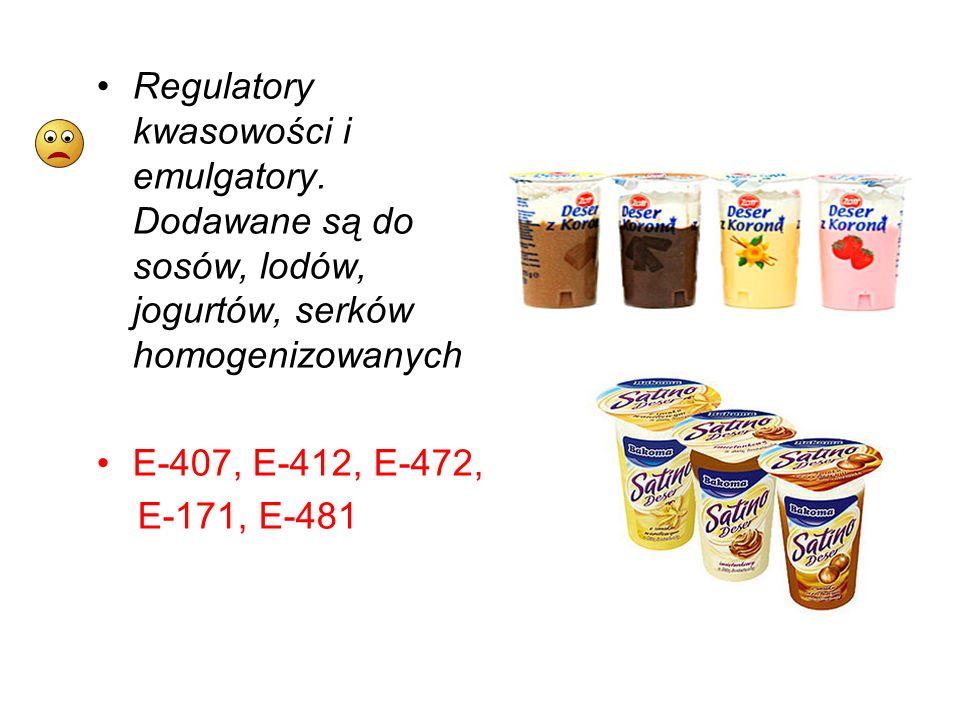 Regulatory kwasowości i emulgatory. Dodawane są do sosów, lodów, jogurtów, serków homogenizowanych E-407, E-412, E-472, E-171, E-481