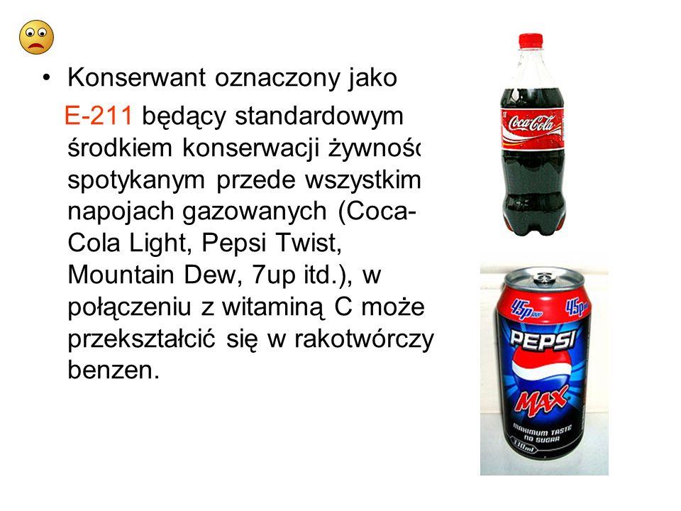 Konserwant oznaczony jako E-211 będący standardowym środkiem konserwacji żywności - spotykanym przede wszystkim w napojach gazowanych (Coca- Cola Ligh