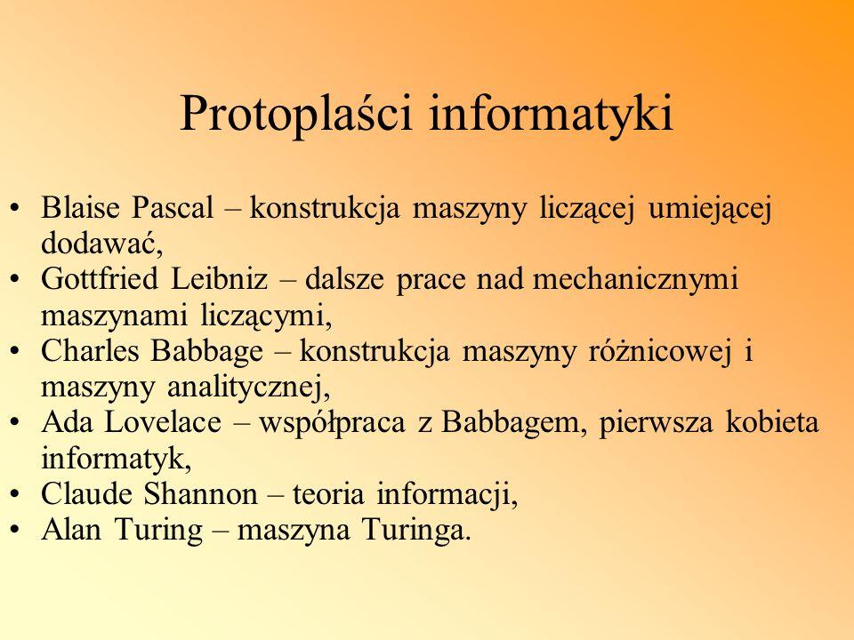 Protoplaści informatyki Blaise Pascal – konstrukcja maszyny liczącej umiejącej dodawać, Gottfried Leibniz – dalsze prace nad mechanicznymi maszynami l