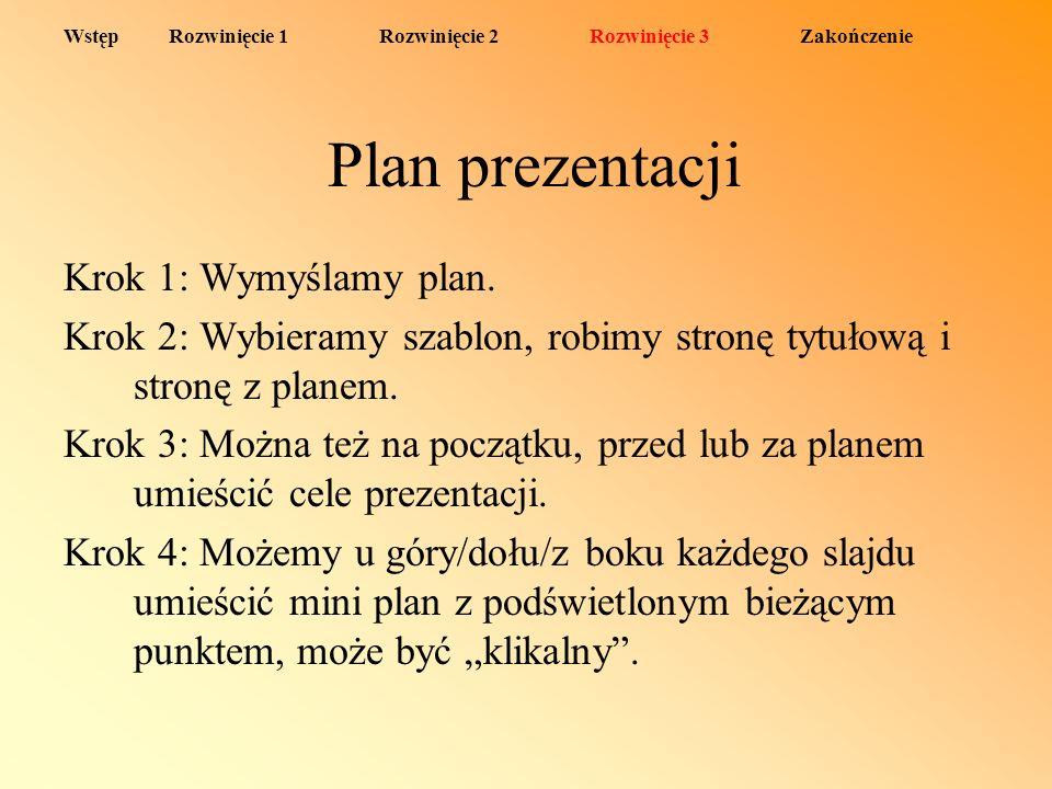 Plan prezentacji Krok 1: Wymyślamy plan. Krok 2: Wybieramy szablon, robimy stronę tytułową i stronę z planem. Krok 3: Można też na początku, przed lub