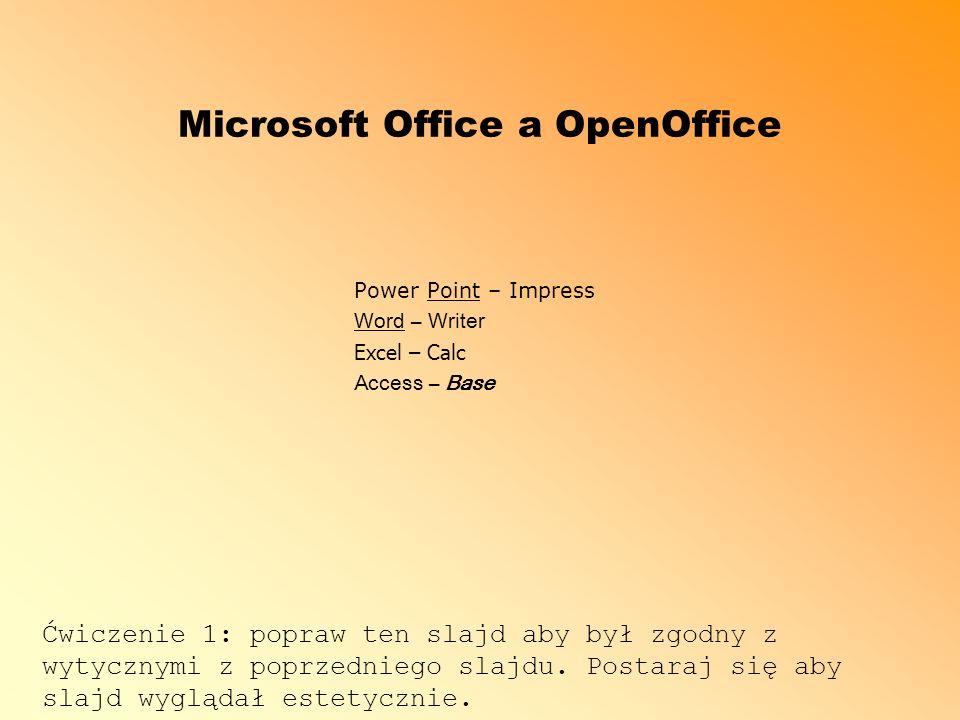 Microsoft Office a OpenOffice Power Point – Impress Word – Writer Excel – Calc Access – Base Ćwiczenie 1: popraw ten slajd aby był zgodny z wytycznymi