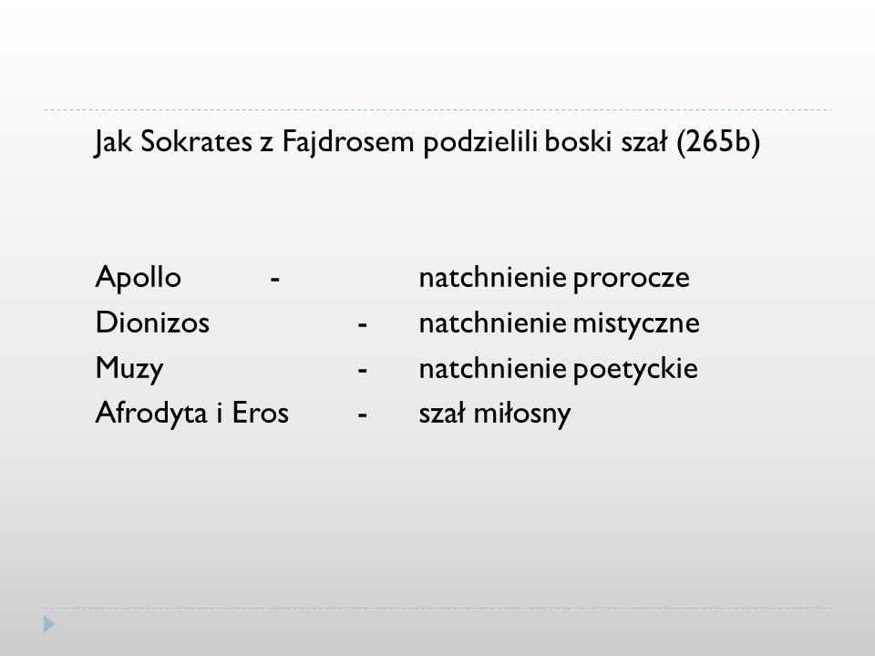Jak Sokrates z Fajdrosem podzielili boski szał (265b) Apollo- Dionizos- Muzy- Afrodyta i Eros- natchnienie prorocze natchnienie mistyczne natchnienie