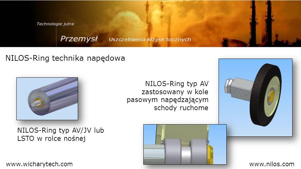NILOS-Ring technika napędowa NILOS-Ring typ AV zastosowany w kole pasowym napędzającym schody ruchome NILOS-Ring typ AV/JV lub LSTO w rolce nośnej www