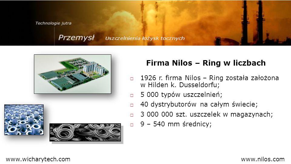 1926 r. firma Nilos – Ring została założona w Hilden k. Dusseldorfu; 5 000 typów uszczelnień; 40 dystrybutorów na całym świecie; 3 000 000 szt. uszcze