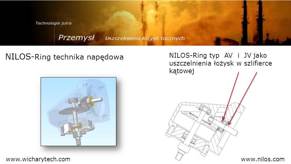 NILOS- Ring technika napędowa NILOS-Ring typ AV i JV jako uszczelnienia łożysk w szlifierce kątowej www.nilos.comwww.wicharytech.com