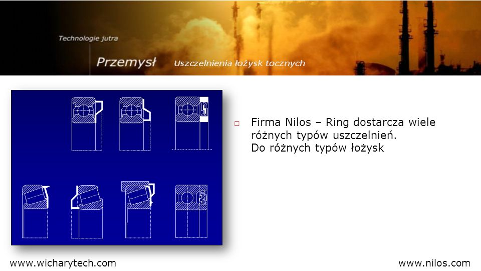 Uszczelnienie Nilos-Ring, które uszczelnia zewnętrzny pierścień łożyska określamy jako typ AV Krawędź uszczelniająca Powierzchnia przylegająca Prędkość maksymalna do 6 m/s www.nilos.comwww.wicharytech.com