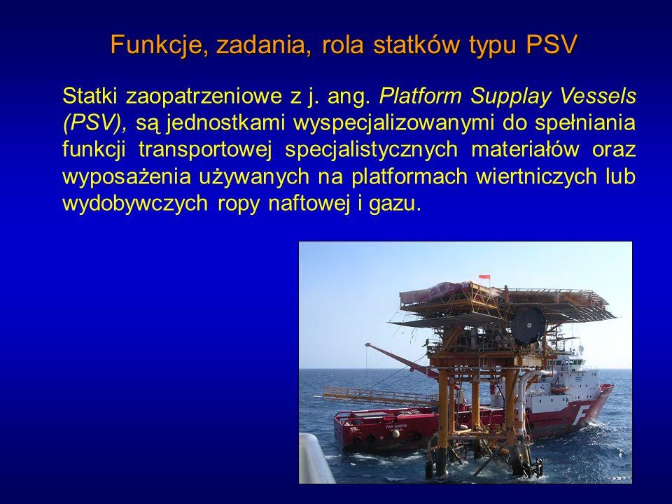 Funkcje, zadania, rola statków typu PSV Statki zaopatrzeniowe z j. ang. Platform Supplay Vessels (PSV), są jednostkami wyspecjalizowanymi do spełniani