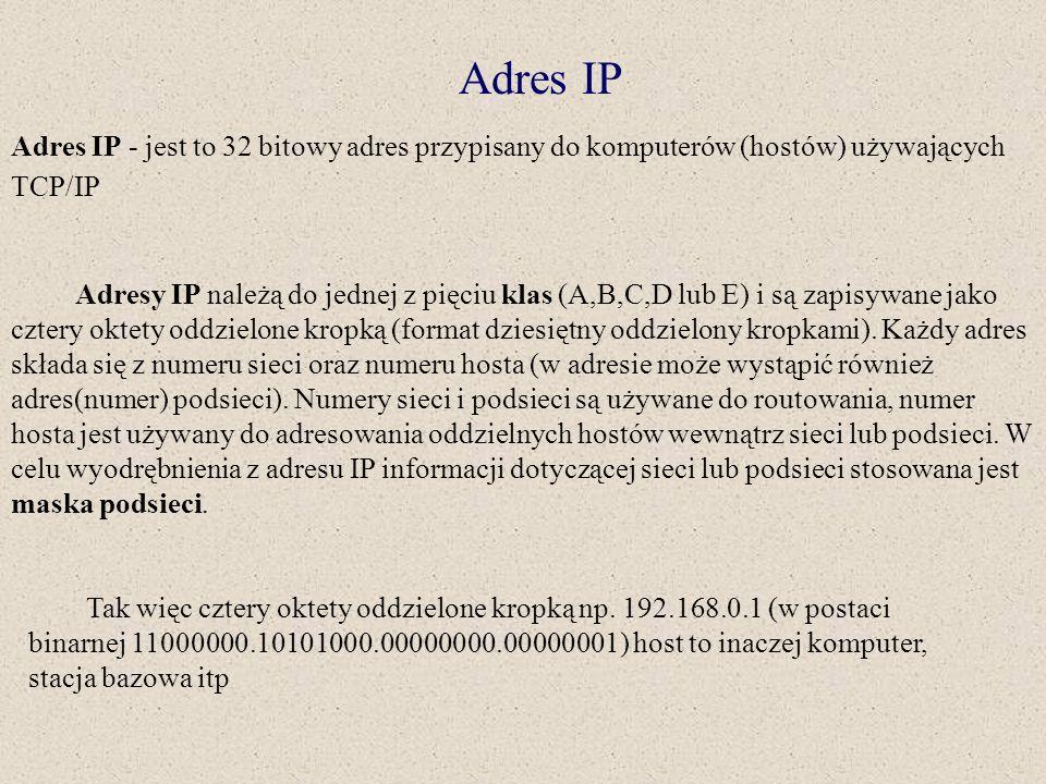 Adres IP Adres IP - jest to 32 bitowy adres przypisany do komputerów (hostów) używających TCP/IP Adresy IP należą do jednej z pięciu klas (A,B,C,D lub