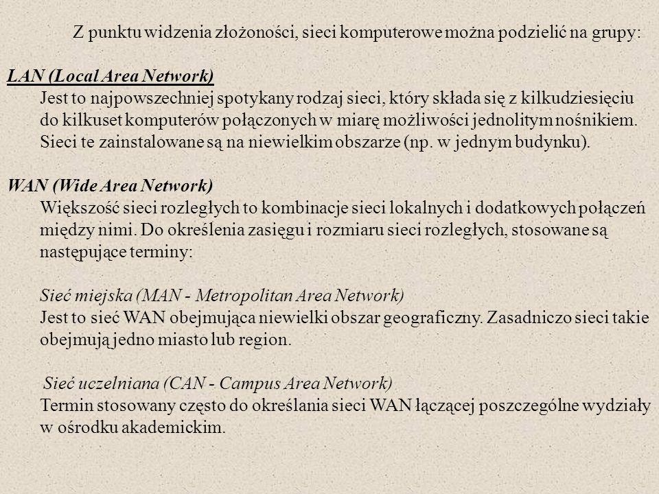 Z punktu widzenia złożoności, sieci komputerowe można podzielić na grupy: LAN (Local Area Network) Jest to najpowszechniej spotykany rodzaj sieci, któ