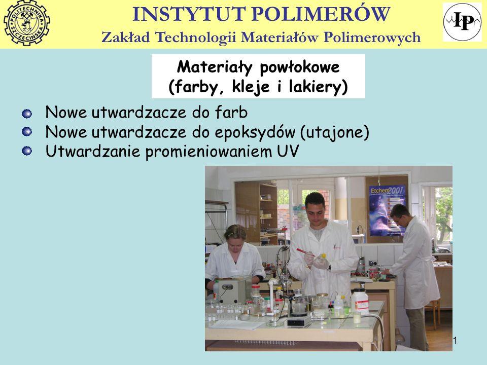 11 Nowe utwardzacze do farb Nowe utwardzacze do epoksydów (utajone) Utwardzanie promieniowaniem UV INSTYTUT POLIMERÓW Zakład Technologii Materiałów Po