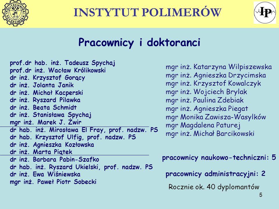 5 Pracownicy i doktoranci prof.dr hab. inż. Tadeusz Spychaj prof.dr inż. Wacław Królikowski dr inż. Krzysztof Gorący dr inż. Jolanta Janik dr inż. Mic