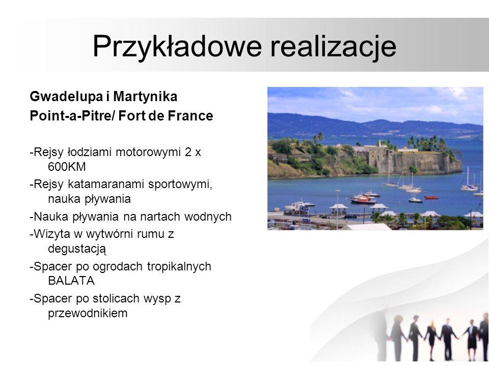 Przykładowe realizacje Gwadelupa i Martynika Point-a-Pitre/ Fort de France -Rejsy łodziami motorowymi 2 x 600KM -Rejsy katamaranami sportowymi, nauka
