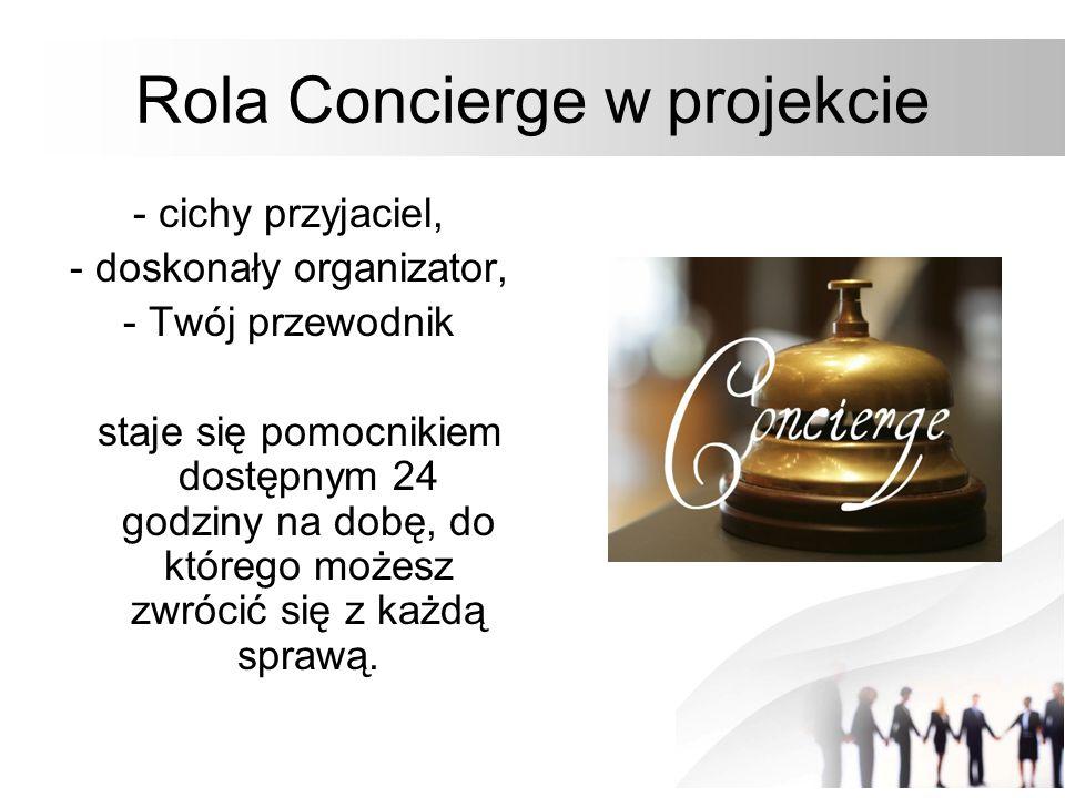 Rola Concierge w projekcie - cichy przyjaciel, - doskonały organizator, - Twój przewodnik staje się pomocnikiem dostępnym 24 godziny na dobę, do które