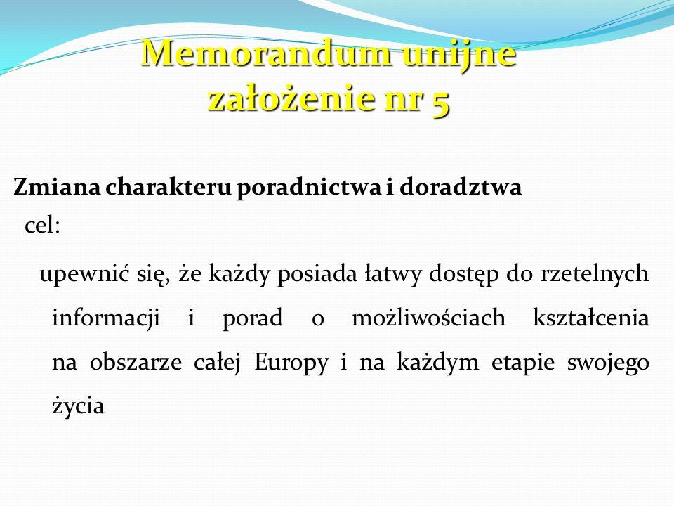 Memorandum unijne założenie nr 5 Zmiana charakteru poradnictwa i doradztwa cel: upewnić się, że każdy posiada łatwy dostęp do rzetelnych informacji i