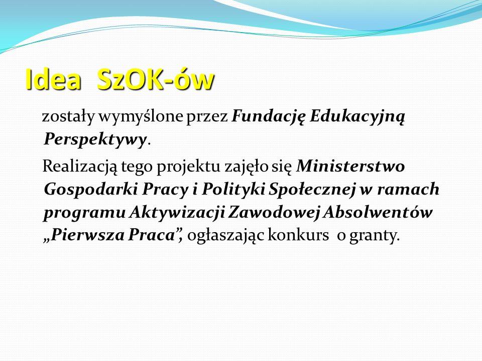 Historia powstania SzOK-ów Szkolne Ośrodki Kariery w szkołach gimnazjalnych i ponadgimnazjalnych o uprawnieniach szkół publicznych zostały utworzone na zlecenie Ministra Pracy i Polityki Społecznej w latach 2003 – 2005, w tych latach Minister przeznaczył na realizację tego projektu łącznie 5 milionów zł.