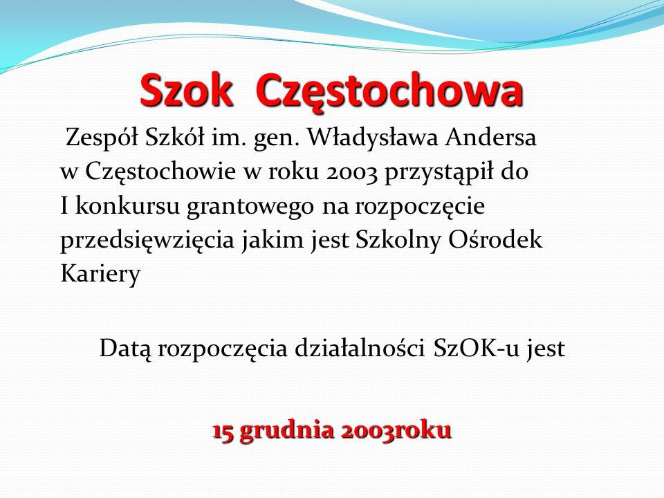 Szok Częstochowa Zespół Szkół im. gen. Władysława Andersa w Częstochowie w roku 2003 przystąpił do I konkursu grantowego na rozpoczęcie przedsięwzięci