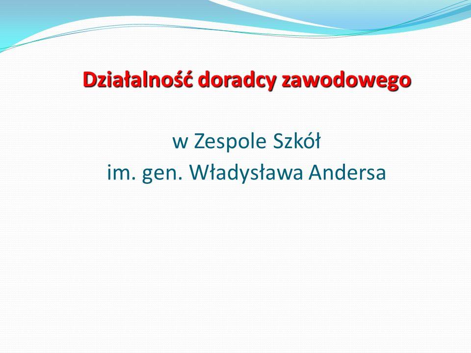 Działalność doradcy zawodowego Działalność doradcy zawodowego w Zespole Szkół im. gen. Władysława Andersa