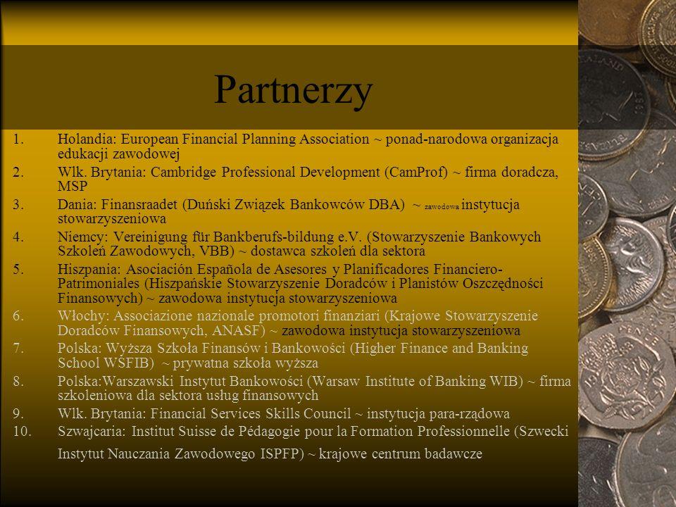 Partnerzy 1.Holandia: European Financial Planning Association ~ ponad-narodowa organizacja edukacji zawodowej 2.Wlk.