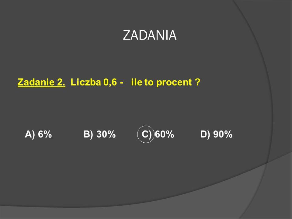 ZADANIA Zadanie 1. Jaką część figury zamalowano kolorem czerwonym? A) 30%B) 50%C) 0,5%D) 90%