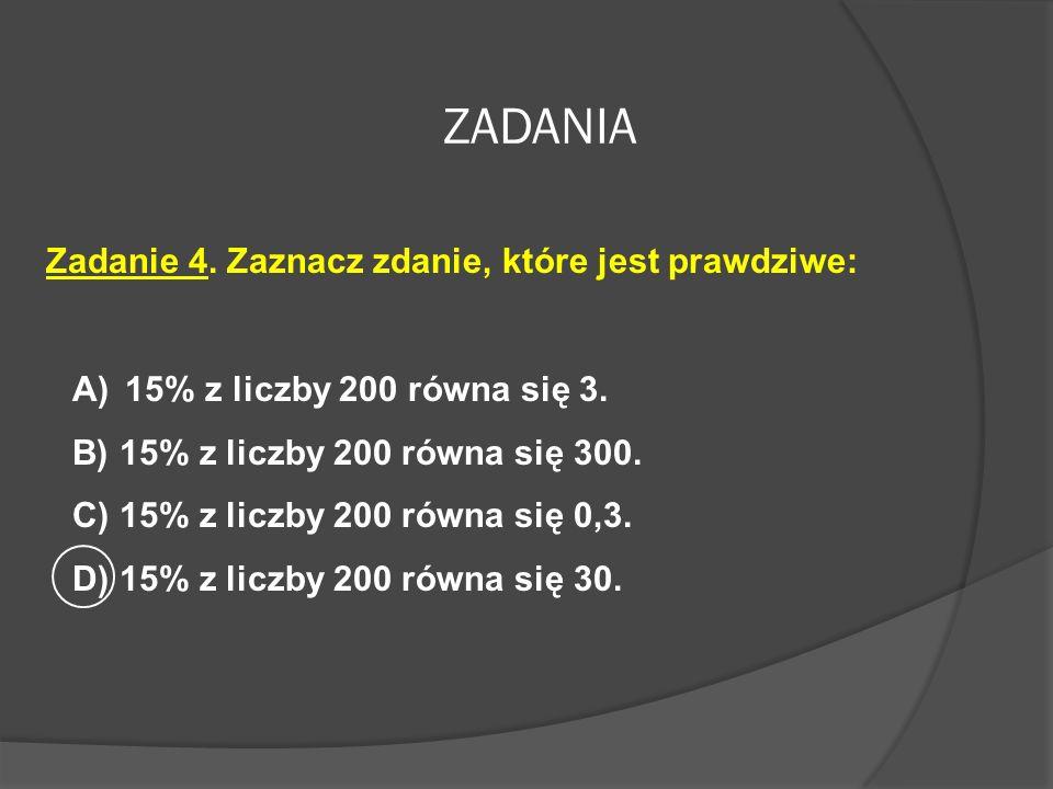 Zadanie 3. Liczba 27 zwiększona o 20%. Wybierz poprawny wzór na obliczenie tej liczby. A) 20%*27B) 120%*27 C) 1,2%*27D) 20% + 27