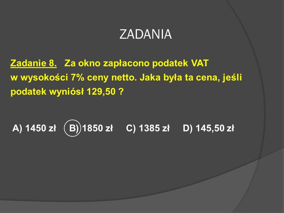 ZADANIA Zadanie 7. Pan Nowak wpłacił do banku 40 000 złotych na rok czasu. Roczna stopa oprocentowania wynosi 9%. Oblicz uzyskane po 3 miesiącach odse