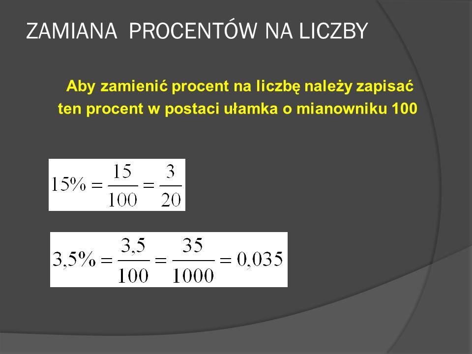 ZAMIANA PROCENTÓW NA LICZBY 1%= 8%= 40%= 28%= 100%= 125%= 200%= 50% to połowa 25% to ćwierć 100% to całość 10% to jedna dziesiąta 75% to trzy czwarte