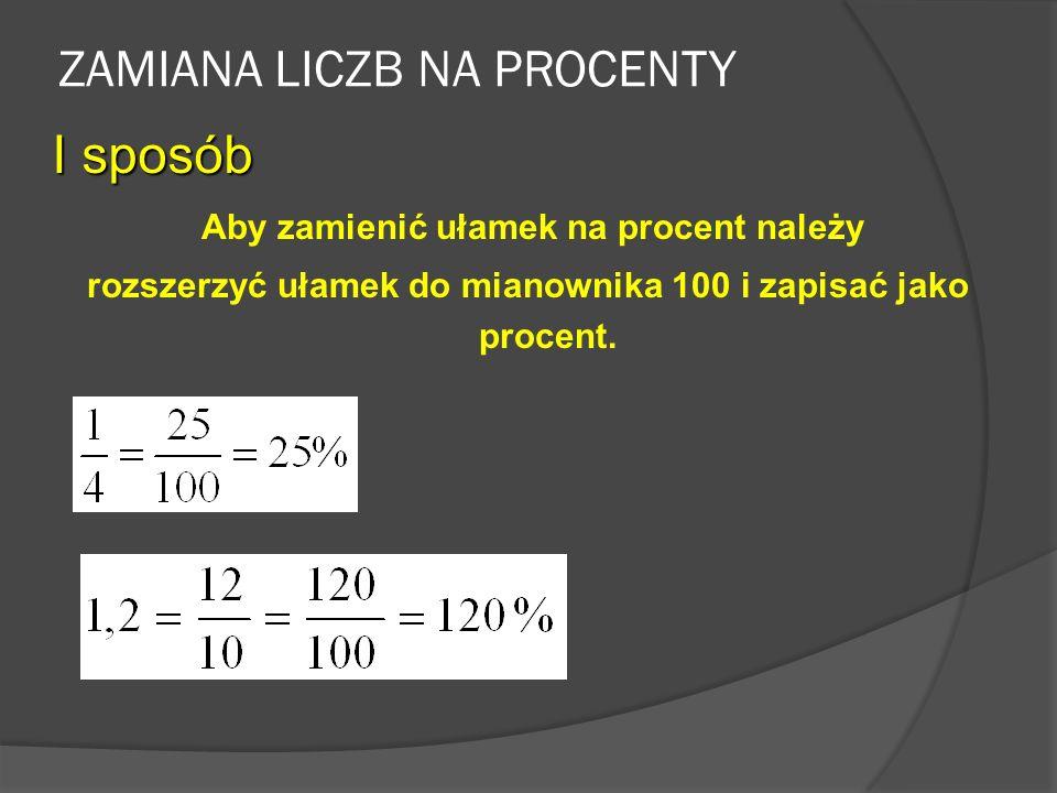ZAMIANA PROCENTÓW NA LICZBY Aby zamienić procent na liczbę należy zapisać ten procent w postaci ułamka o mianowniku 100