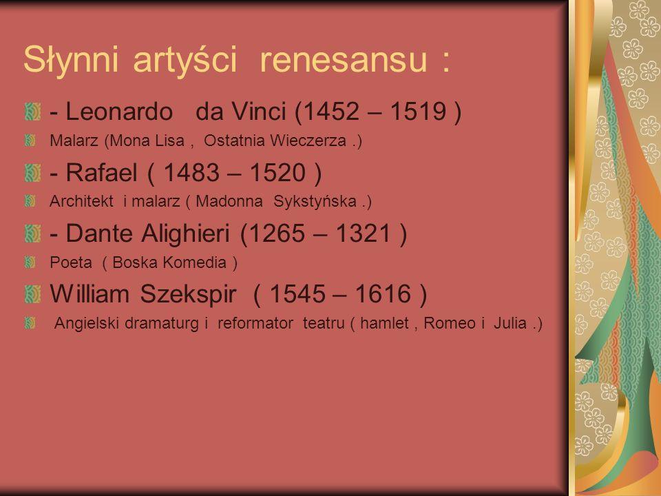 Instrumenty renesansu : -lutnia -szpined -klawikord -organy -flet -lira