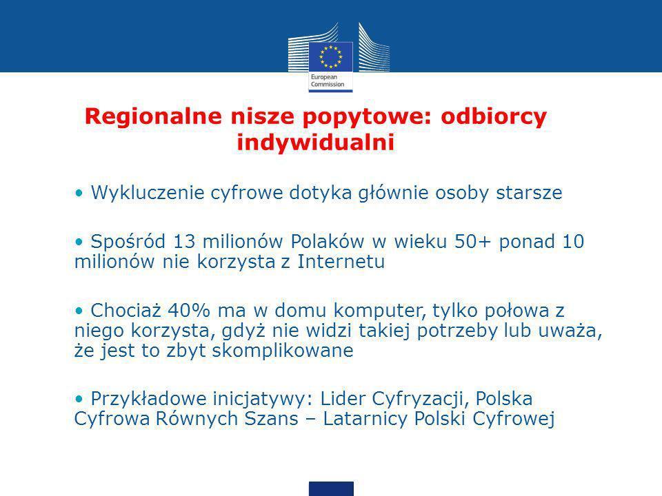 Regionalne nisze popytowe: odbiorcy indywidualni Wykluczenie cyfrowe dotyka głównie osoby starsze Spośród 13 milionów Polaków w wieku 50+ ponad 10 mil
