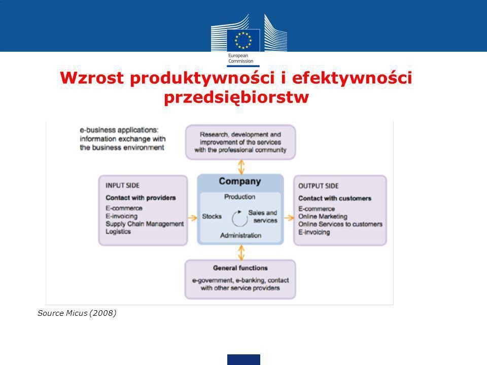 Wzrost produktywności i efektywności przedsiębiorstw Source Micus (2008)