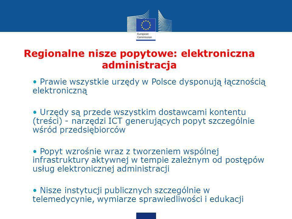 Regionalne nisze popytowe: elektroniczna administracja Prawie wszystkie urzędy w Polsce dysponują łącznością elektroniczną Urzędy są przede wszystkim